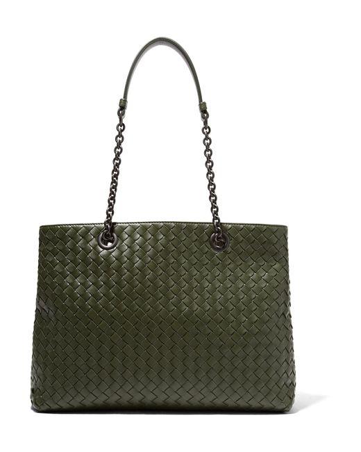 Bottega Veneta | Green Shopper Large Intrecciato Leather Tote | Lyst