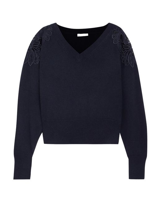 Chloé | Blue Merine Guipure Lace-trimmed Wool And Cashmere-blend Sweater | Lyst