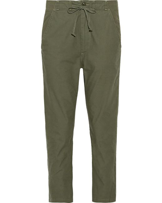 Vince | Green Cropped Cotton-canvas Slim-leg Pants | Lyst