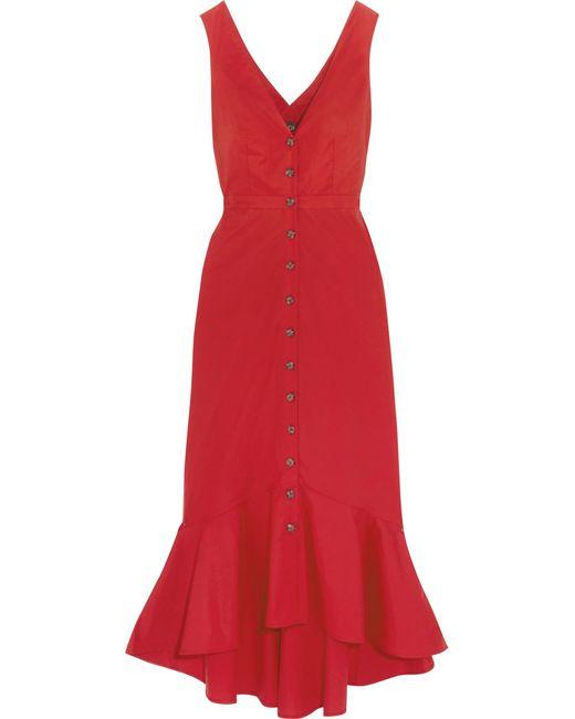 Saloni | Red Zoey Cutout Cotton-blend Poplin Midi Dress | Lyst
