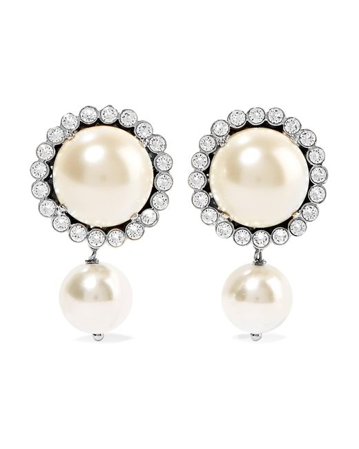 Miu Miu | White Gunmetal-tone, Faux Pearl And Crystal Clip Earrings | Lyst