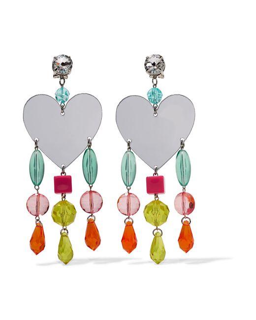 Miu Miu | Pink Silver-tone, Plexiglas And Crystal Clip Earrings | Lyst