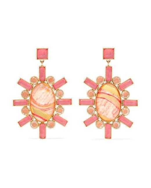 Larkspur & Hawk Cora 14-karat Gold, Moonstone And Quartz Earrings