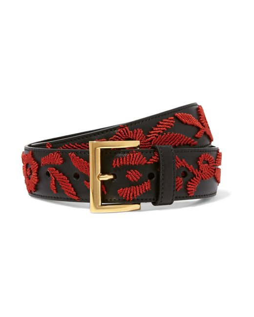 Prada | Black Embroidered Leather Belt | Lyst