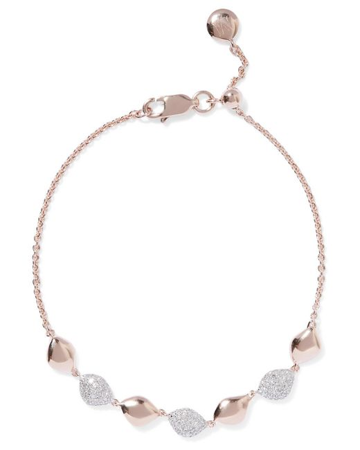 Monica Vinader | Metallic Nura Rose Gold Vermeil Diamond Bracelet | Lyst