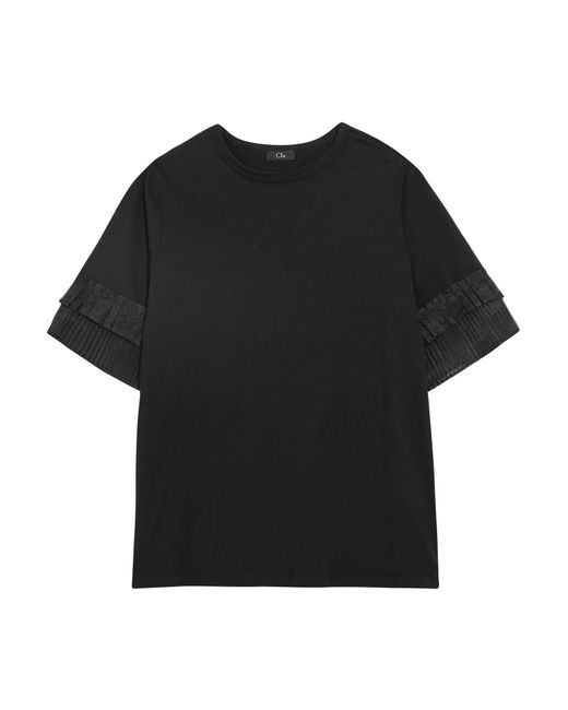 CLU | Black Pleated Organza-trimmed Silk-jersey T-shirt | Lyst