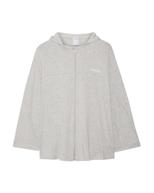 Calvin Klein | Gray Cape-effect Cotton-blend Jersey Hooded Top | Lyst
