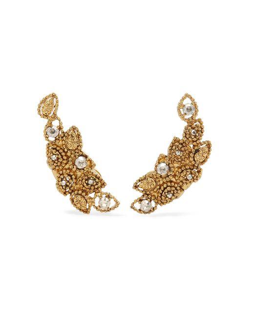 Oscar de la Renta | Metallic Millegrain Petal Gold-plated Crystal Clip Earrings | Lyst