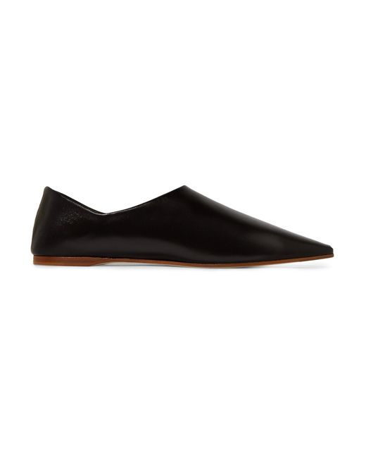 Acne | Black Amina Collapsible-heel Leather Slippers | Lyst