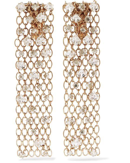 Lanvin | Metallic Gold-tone Crystal Clip Earrings | Lyst