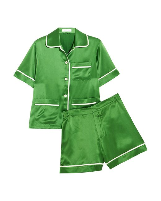 Olivia Von Halle | Green Millicent Silk-satin Pajama Set | Lyst