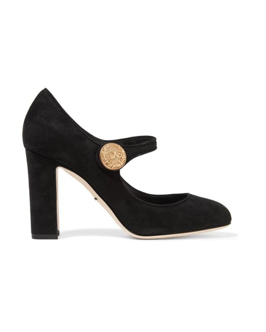 Dolce & Gabbana | Black Embellished Suede Mary Jane Pumps | Lyst