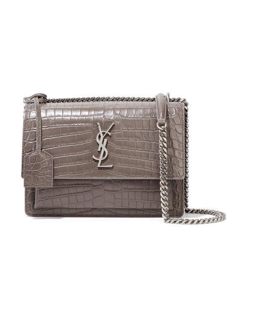 Saint Laurent | Gray Sunset Medium Croc-effect Leather Shoulder Bag | Lyst
