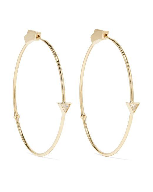 Jennifer Meyer   Metallic 18-karat Gold Diamond Hoop Earrings   Lyst