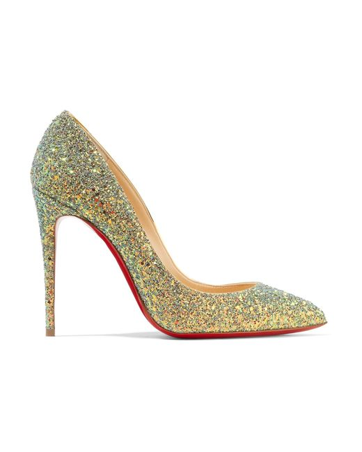 Christian Louboutin | Green Pigalle Follies Dragonfly 100 Glittered Leather Pumps | Lyst