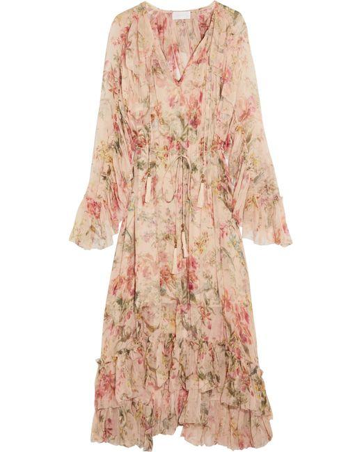 Zimmermann | Multicolor Mercer Floating Ruffled Floral-print Silk-georgette Dress | Lyst
