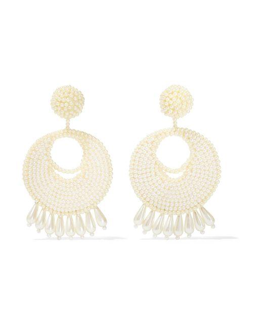Kenneth Jay Lane   White Faux Pearl Beaded Earrings   Lyst