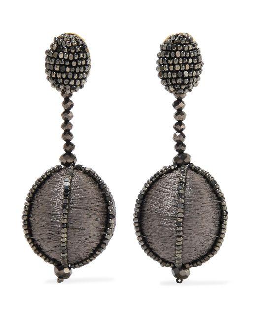Oscar de la Renta   Gray Silk And Bead Clip Earrings   Lyst