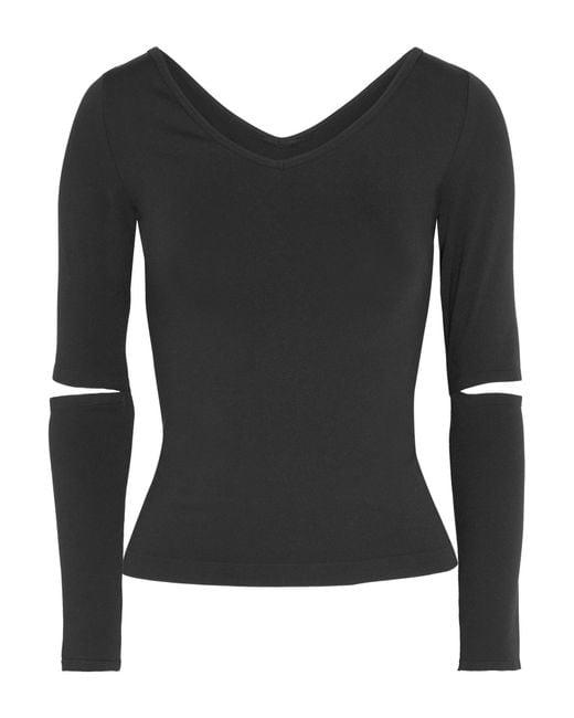 Helmut Lang | Black Cutout Stretch-jersey Top | Lyst