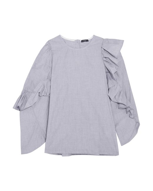 CLU | Gray Asymmetric Ruffled Cotton Top | Lyst