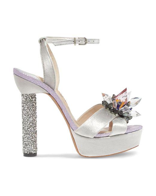 Sophia Webster   Metallic Glacia Embellished Velvet And Lame Sandals   Lyst
