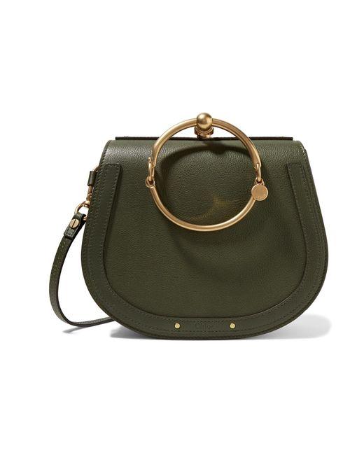 Chloé | Green Nile Bracelet Medium Textured-leather And Suede Shoulder Bag | Lyst