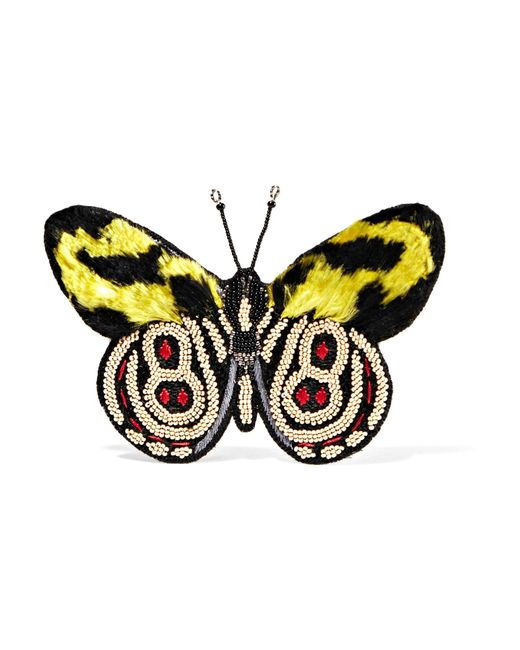 Etro | Yellow Embellished Faux Fur Brooch | Lyst