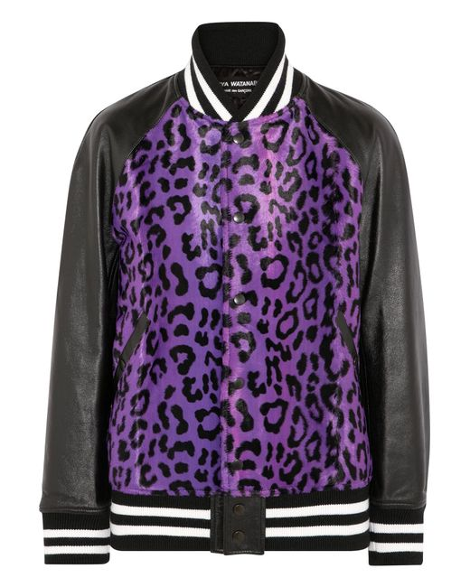 Junya Watanabe | Purple Leather-paneled Leopard-print Faux Fur Bomber Jacket | Lyst