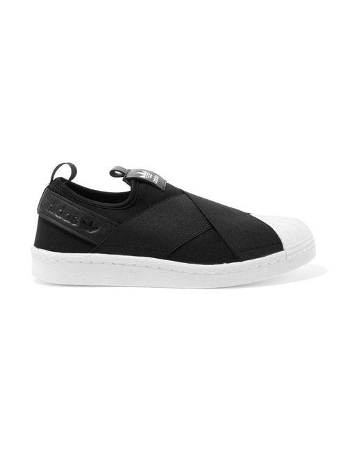 Adidas Originals | Black Superstar Leather-trimmed Neoprene Slip-on Sneakers | Lyst