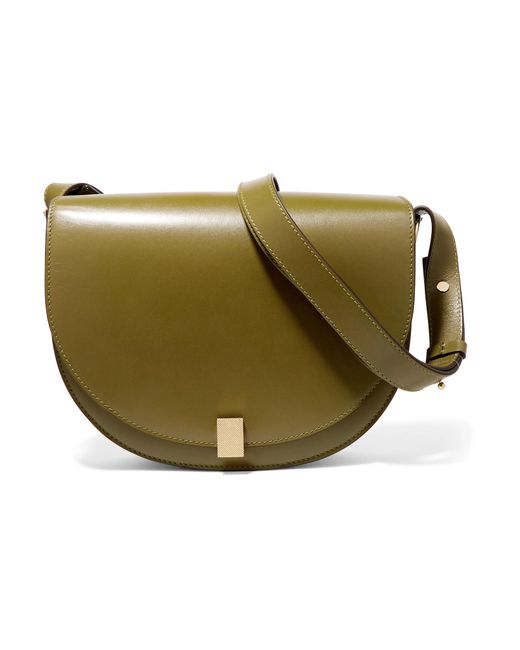 Victoria Beckham - Green Half Moon Box Leather Shoulder Bag - Lyst