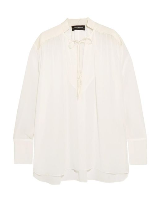 By Malene Birger - White Bolivian Ruched Chiffon Blouse - Lyst