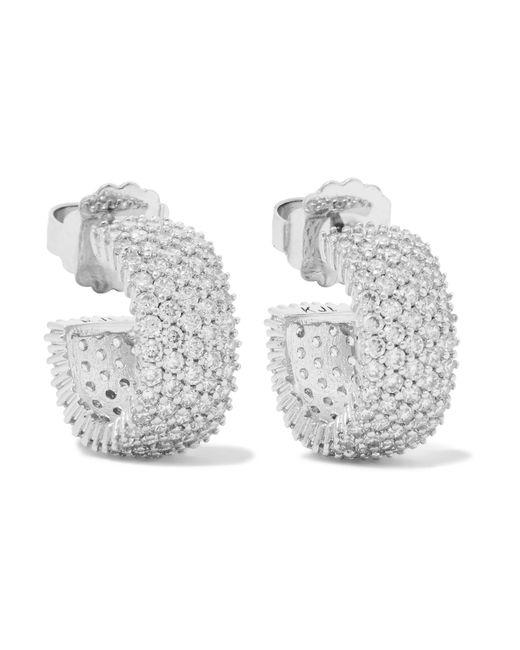 Kenneth Jay Lane | Metallic Rhodium-plated Cubic Zirconia Hoop Earrings | Lyst