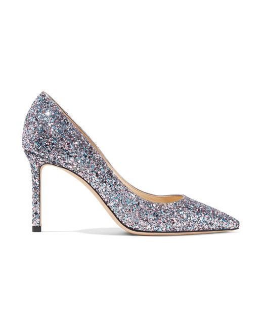 Jimmy Choo - Metallic Romy 85 Glittered Leather Pumps - Lyst