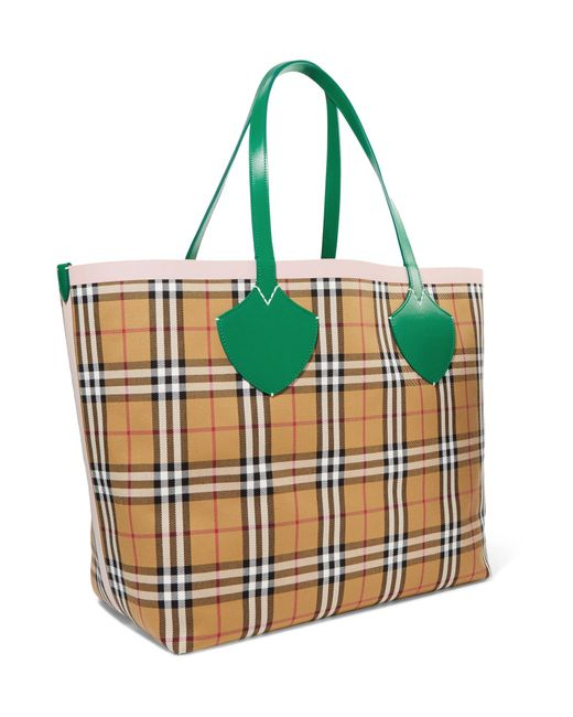 5b8ce70ecc97 ... Burberry - Brown Giant Reversible Leather-trimmed Checked Cotton-canvas  Tote - Lyst ...