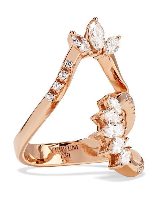 YEPREM - Metallic 18-karat Rose Gold Diamond Ring - Lyst