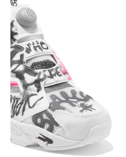 ... Vetements - White + Reebok Instapump Fury Printed Neoprene And Mesh  Sneakers - Lyst 148a4d6f0