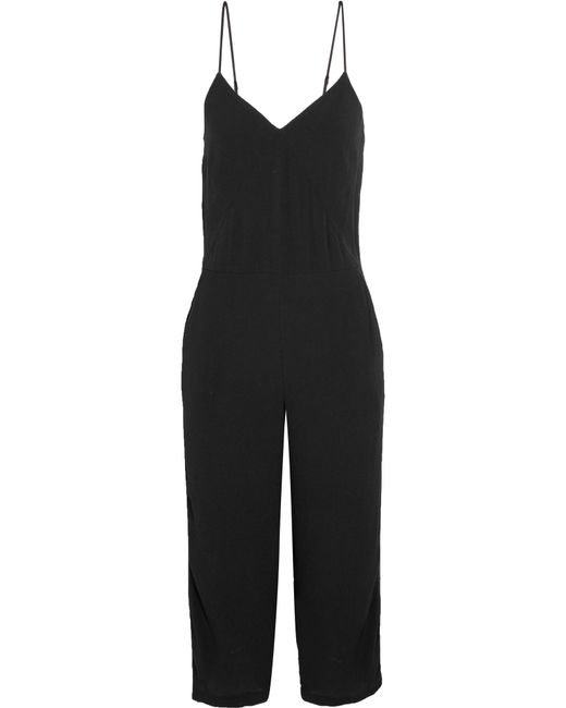 Splendid - Black Cropped Embroidered Satin-trimmed Crepe Jumpsuit - Lyst