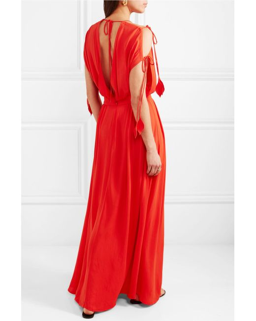 Evaline Chiffon Maxi Dress - Red Tory Burch New Arrival Online Outlet Official Sale Official Site Low Cost GFUrXeryH
