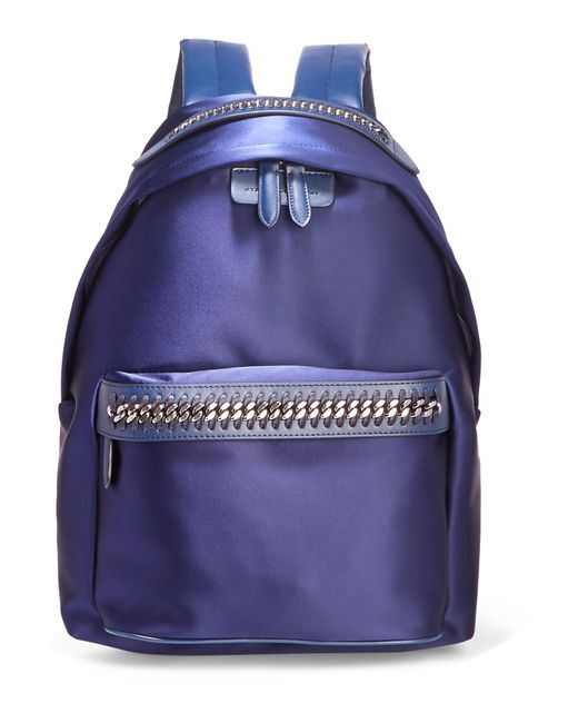 Stella McCartney - Blue The Falabella Go Faux Leather-trimmed Satin Backpack - Lyst