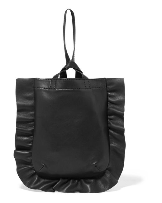 Loeffler Randall | Black Ruffled Leather Mini Wristlet Bag | Lyst