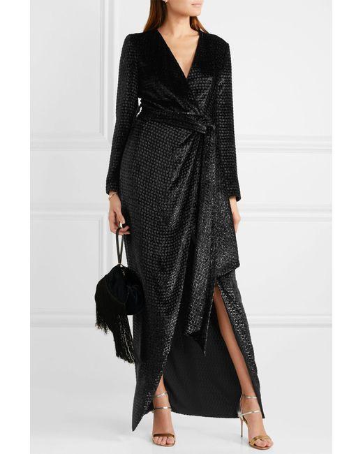 041a3204a833f ... Brandon Maxwell - Black Metallic Fil Coupé Velvet Wrap-effect Gown -  Lyst ...
