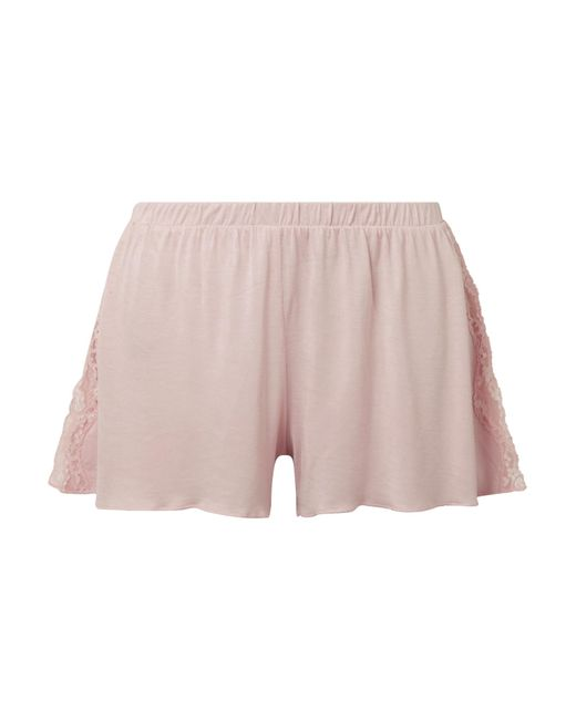 Skin - Pink Jessie Lace-trimmed Jersey Pajama Shorts - Lyst