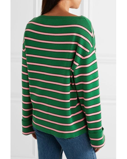 86c4aaa6bad0 Lyst - ALEXACHUNG Oversized Striped Wool And Cotton-blend Sweater in ...