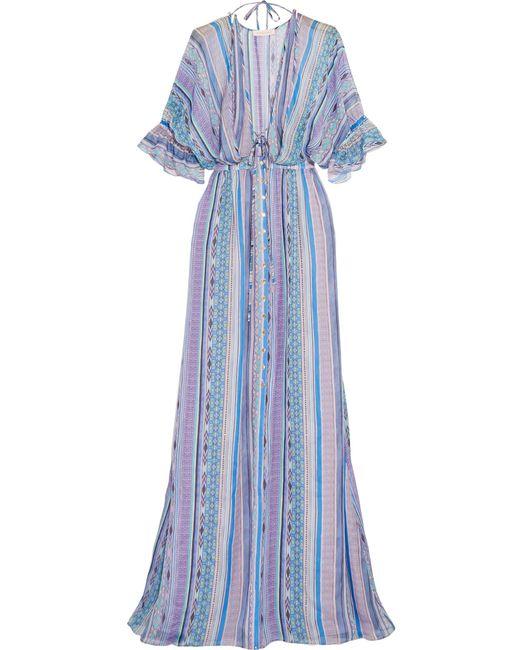 Matthew Williamson | Blue Saya Stripe Silk-chiffon Maxi Dress | Lyst