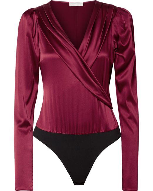 Caroline Constas - Red Berdine Wrap-effect Stretch-silk Satin Thong Bodysuit - Lyst