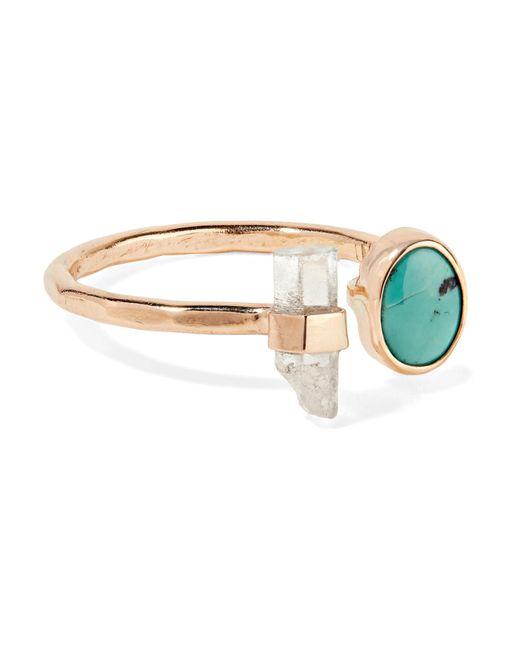 Melissa Joy Manning - Metallic 14-karat Gold, Turquoise And Aquamarine Ring Gold 7 - Lyst