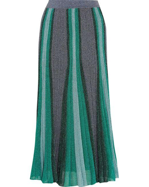Missoni   Blue Metallic Stretch-knit Midi Skirt   Lyst