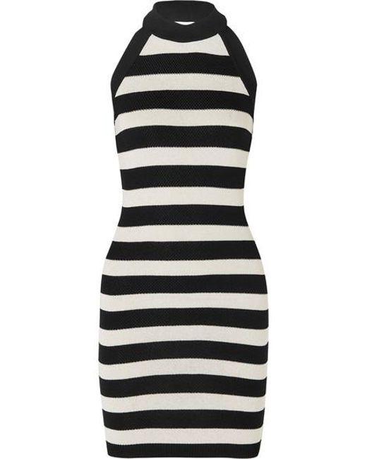 18ba559d Balmain Striped Stretch-knit Halterneck Mini Dress in Black - Save ...
