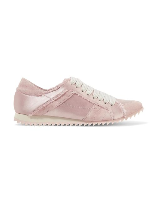Pedro Garcia | Pink Cristina Frayed Suede-trimmed Satin Sneakers | Lyst