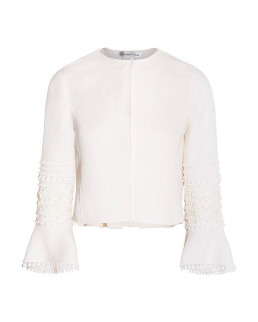 Oscar de la Renta   White Guipure Lace-trimmed Wool-blend Jacket   Lyst